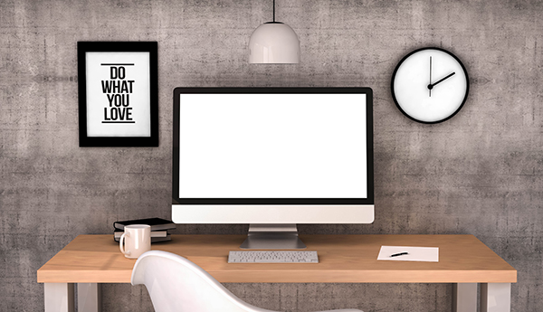 digital generated workspace desktop with blank screen computer.